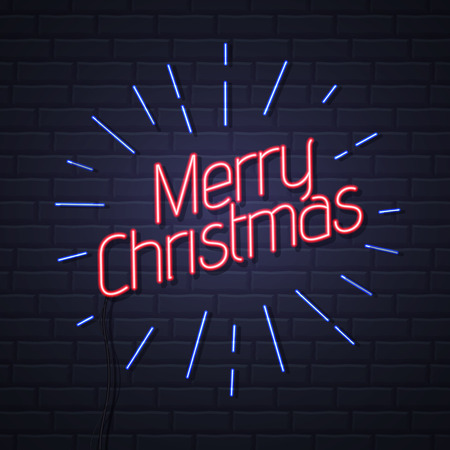 Neon sign merry christmas on brick wall background. Christmas greeting card design
