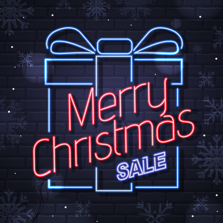 Neon sign merry christmas on brick wall background. Vintage electric signboard Illustration