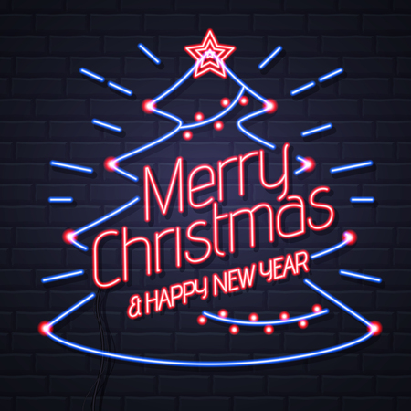Neon sign merry christmas. Happy new year on brick wall background. Christmas greeting card design Illustration