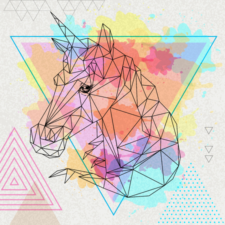 Hipster polygonal fantasy unicorn on artistic polygon watercolor background Illustration