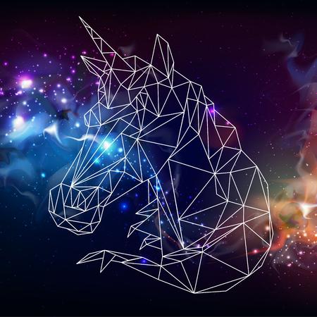 Abstract polygonal tirangle unicorn on open space background. Hipster animal illustration.