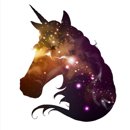 Artistic silhouette of fantasy unicorn on open space background. Hipster animal illustration. Vettoriali