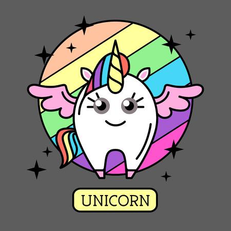 Vector illustration of unicorn on rainbow background. Flat style design