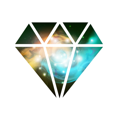 Diamond flat vector icon with space background inside