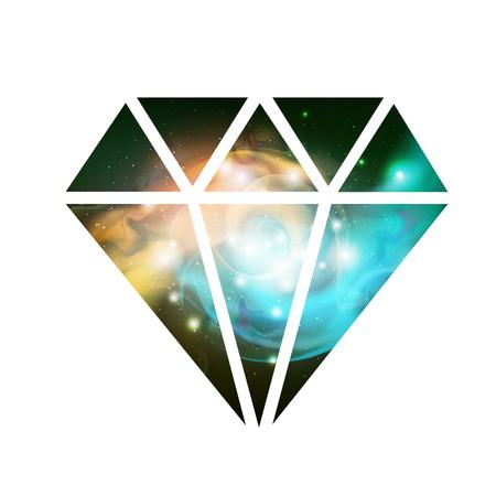 Flache Vektorikone des Diamanten mit Raumhintergrund innen