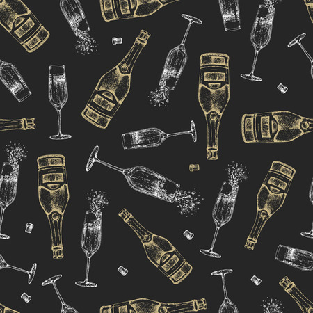 Seamless pattern with champagne bottle and glass Illustration