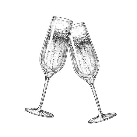 Dos copas de champaña tintineando