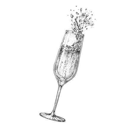 Vector illustration of hand drawing champagne glass with splash Illusztráció