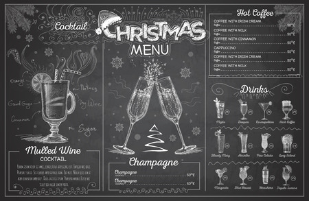 Vintage chalk drawing christmas menu design with champagne. Restaurant menu Ilustração