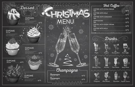 Vintage chalk drawing christmas menu design with champagne. Restaurant menu Illustration