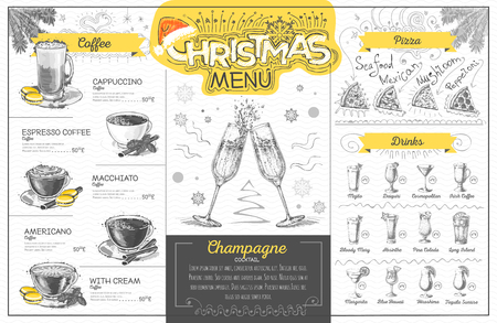 Vintage holiday christmas menu design with champagne. Restaurant menu