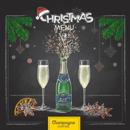 Champagne glasses and bottle Illustration