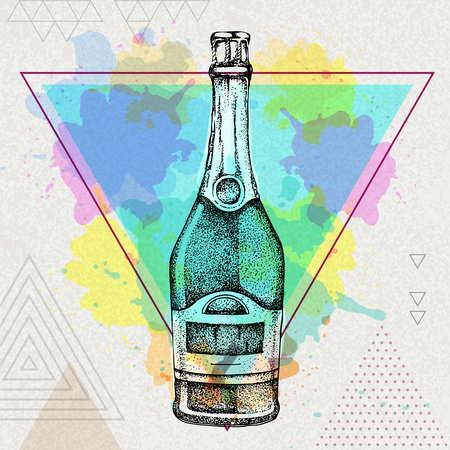 champagne bottle on artistic polygon watercolor background Illustration