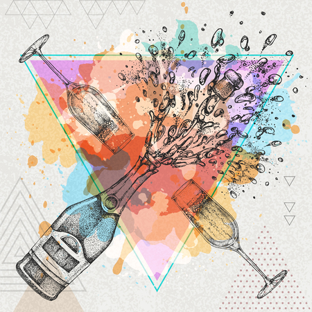champagne bottle on artistic watercolor background Illustration