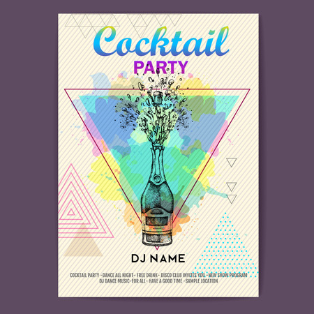 Champagne bottle with splash on artistic polygon watercolor background. Cocktail disco party poster