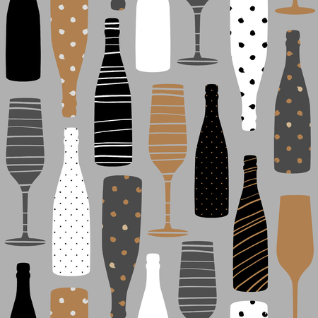 Seamless pattern with champagne glasses and bottles. Hand drawn fabric, gift wrap, wall art design. Vectores