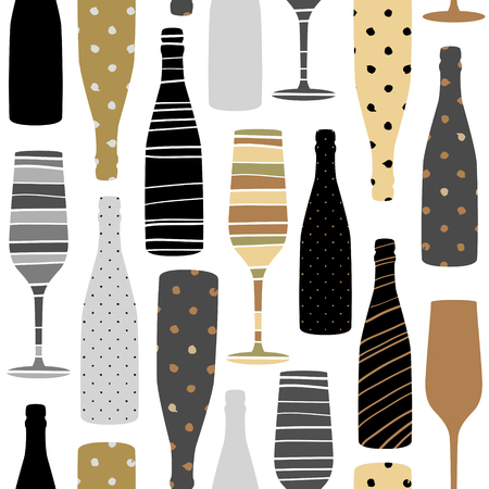 Seamless pattern with champagne glass and bottle. Hand drawn fabric, gift wrap, wall art design.