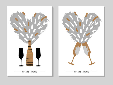 Holiday greeting postcard with champagne glasses with bottle 일러스트