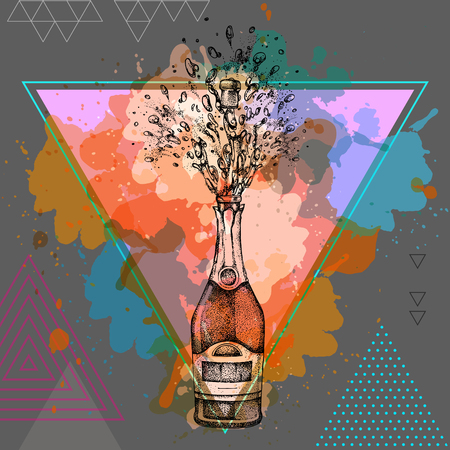 champagne bottle with splash on artistic polygon watercolor background