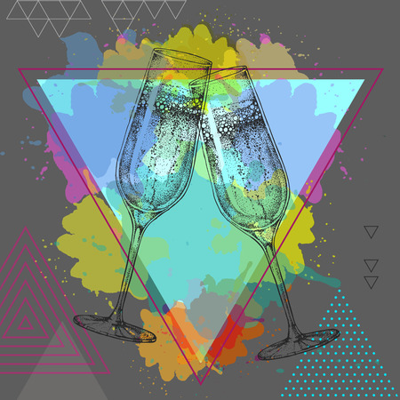 champagne clinking glasses on watercolor background Illustration