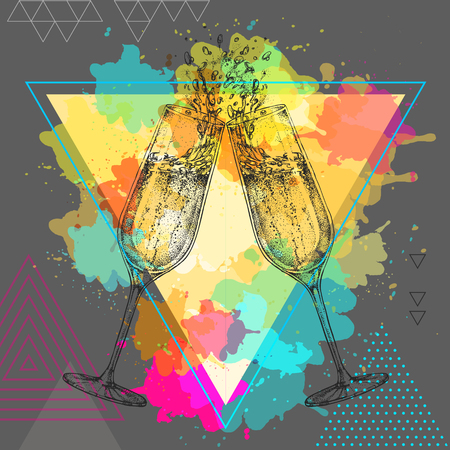 champagne clinking glasses on watercolor background Ilustração