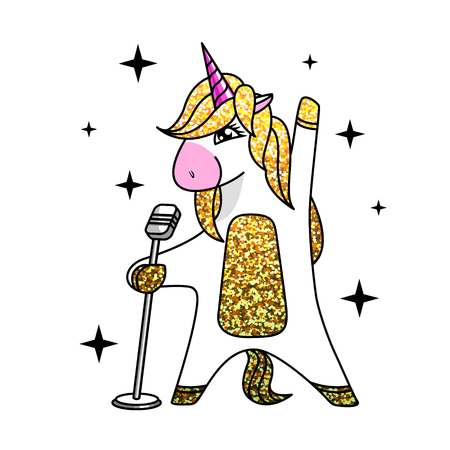 Unicorn singing in microphone. Flat style design Illustration