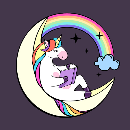 Vector illustration of unicorn reading book on the moon.