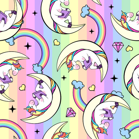 Christmas Seamless pattern with unicorn. Cartoon children background