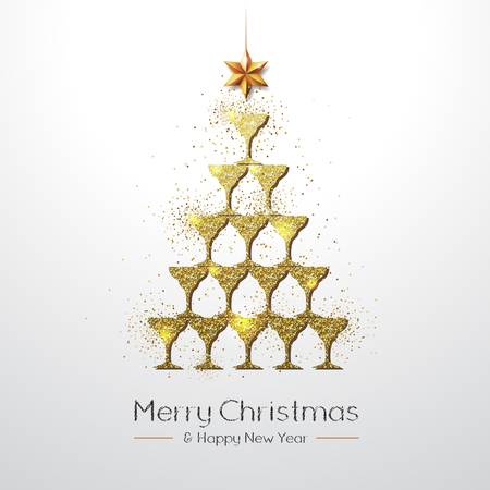 Christmas poster with golden champagne glass. Golden Christmas tree on white background