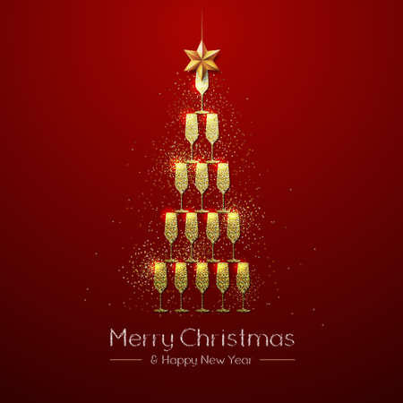 Christmas poster with golden champagne glass. Golden Christmas tree on red background Vektorové ilustrace