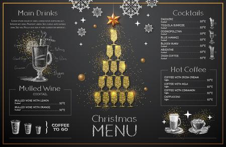 Christmas menu design with golden champagne glasses. Restaurant menu. Pyramid of champagne glasses Vektorové ilustrace