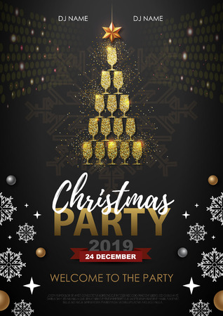 Christmas party poster with golden champagne glass. Golden Christmas tree