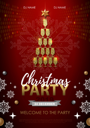 Christmas party poster with golden champagne glass. Golden Christmas tree on red background