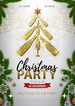 Christmas party poster with golden champagne glass. Golden Christmas tree on white background