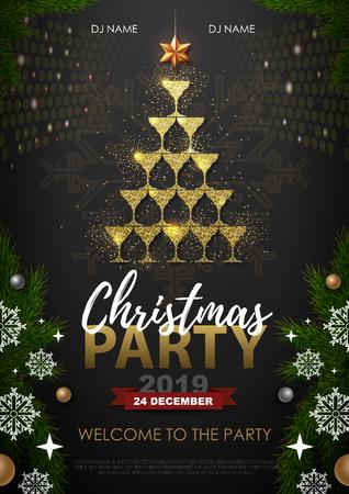 Cartel de fiesta de Navidad con copa de champán dorado. Arbol de navidad dorado Ilustración de vector