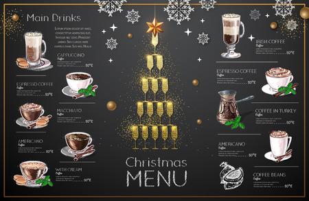 Christmas menu design with golden champagne glasses. Restaurant menu. Pyramid of champagne glasses Ilustración de vector