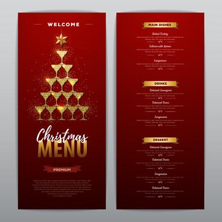 Diseño de menú navideño con copas de champán dorado. Menú del restaurante. Pirámide de copas de champán