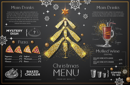 Christmas menu design with golden champagne glasses.