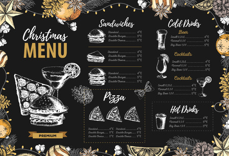 Hand drawing Christmas holiday menu design. Restaurant menu Stock Vector - 114685606
