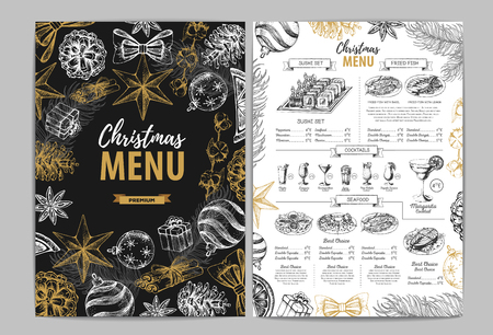 Conception de menu de vacances de Noël de dessin à la main. Menu du restaurant