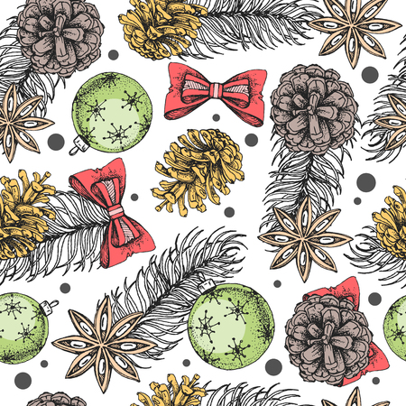 Christmas holiday hand drawing seamless pattern. Christmas attributes background