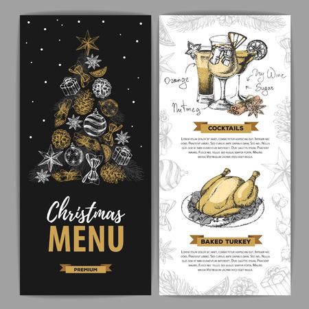 Hand drawing Christmas holiday menu design. Restaurant menu