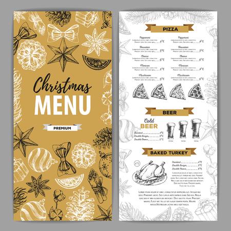 Handzeichnung Weihnachtsfeiertagsmenüdesign. Speisekarte