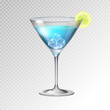 Realistic cocktail glass vector illustration on transparent background Vector Illustration