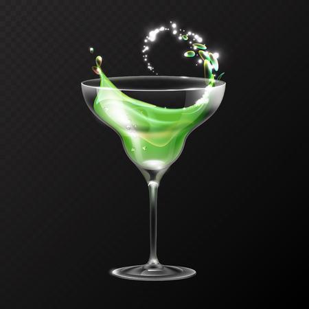 Realistic cocktail margarita glass vector illustration on transparent background Ilustração