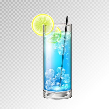 Realistic cocktail glass vector illustration on transparent background