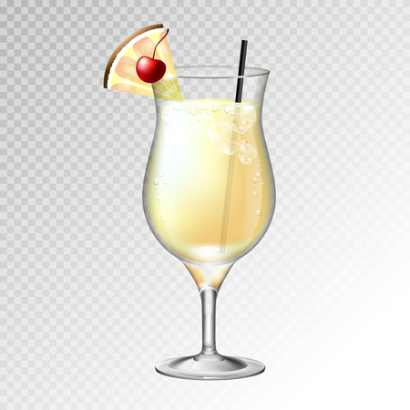Realistic cocktail pina colada glass vector illustration on transparent background