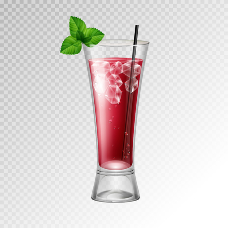 Realistic cocktail bloody mary glass vector illustration on transparent background