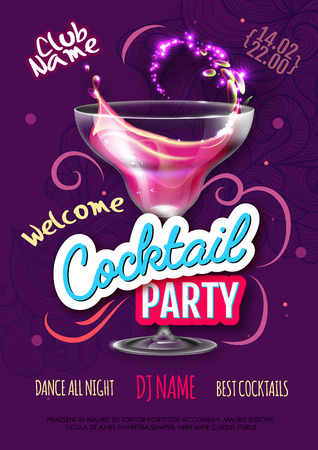 Cocktail party poster in eclectic modern style. Realistic cocktail