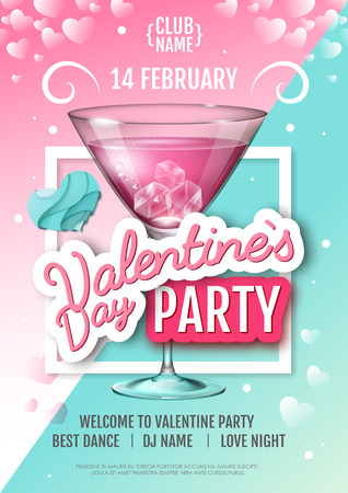 Happy Valentine`s Day disco party poster. Vector Illustration